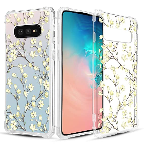 Caka Clear Case for Galaxy S10e Clear Floral Case Flower Pattern [Vine Series] Slim Girly Anti Scratch Excellent Grip Premium Clarity TPU Crystal Case ...