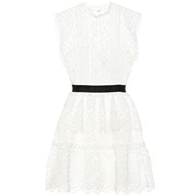 d8fe8c447926 Image Unavailable. Image not available for. Color: Self Portrait Circle  Floral lace Tiered Mini Dress UK10/US6 White