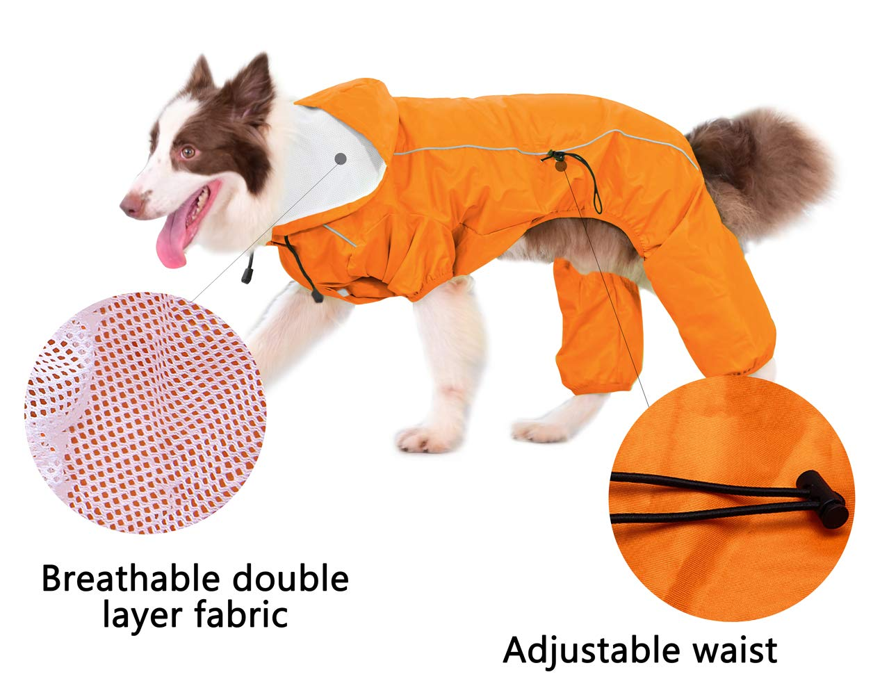 OSPet Dog Raincoat Summer Comfort Breathable Waterproof Four Feet Raincoat With Hood Safe Reflective Stripes For Medium Large Dog