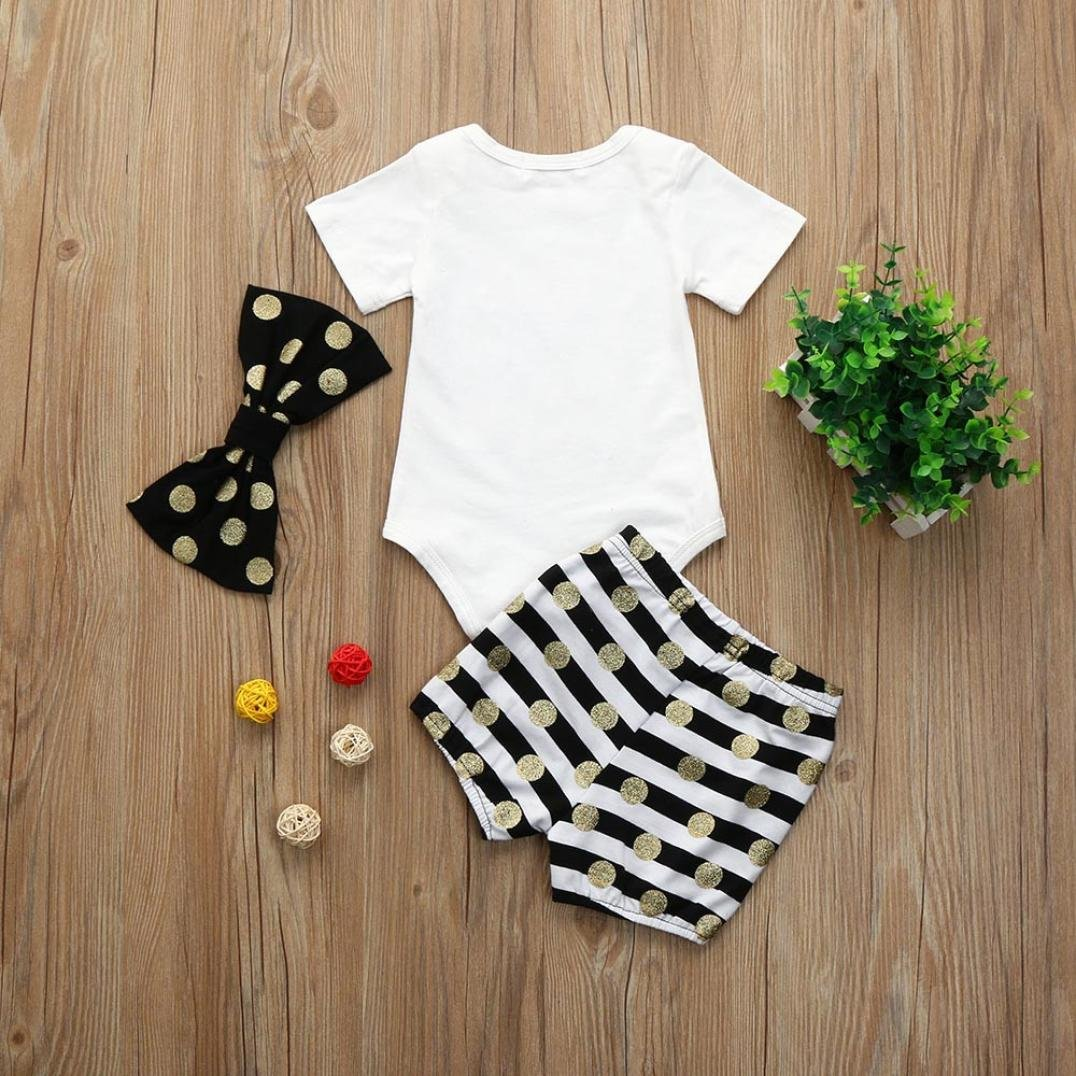 Fartido 3PCS Infrant Baby Girl Bronzing Letter Romper Tops+Shorts Outfits with Bow-Knot