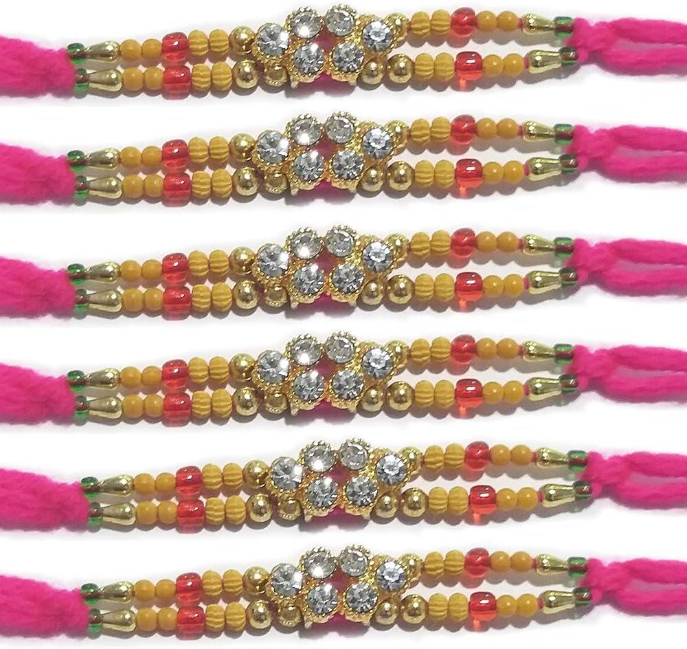 WhopperIndia Set of 4 Six Attractive Diamonds Traditional Rakshabandhan Rakhee Bracelet Color and Design May Vary