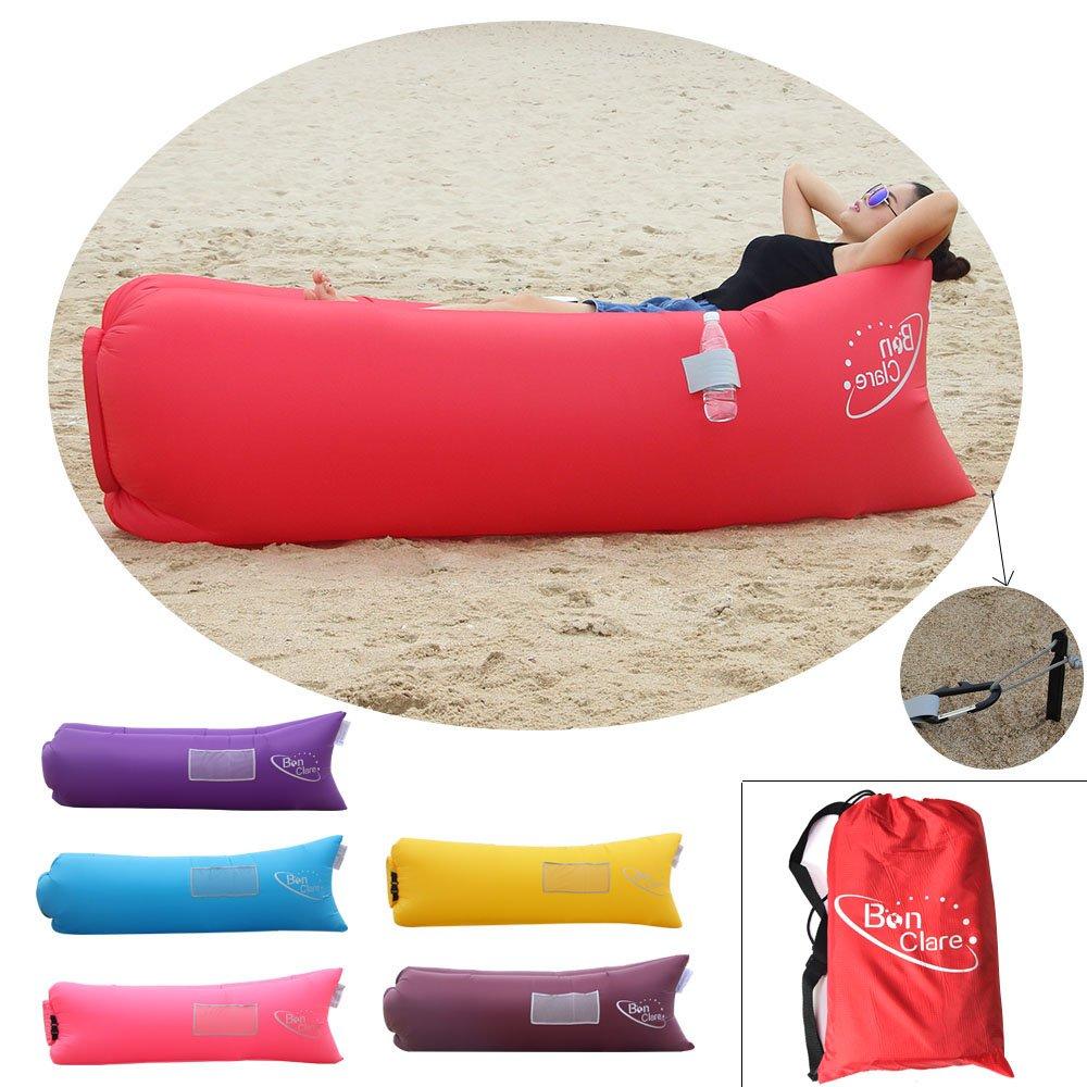 bonclare rápido tumbona, playa de cama de aire sofá de aire inflable bolsa de aire Hangout portátil saco de dormir, mujer, rojo: Amazon.es: Deportes y aire ...