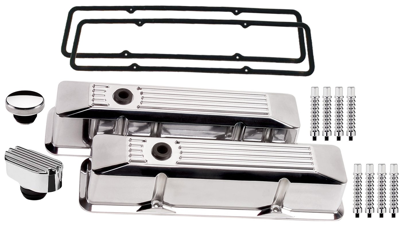 OIL FILL CAP NEW BILLET SPECIALTIES SMALL BLOCK CHEVY TALL POLISHED ALUMINUM VALVE COVER SET WITH RIBBED COVERS RIBBED PCV BREATHER HEX STYLE HOLD DOWNS /& PERMALIGN GASKETS