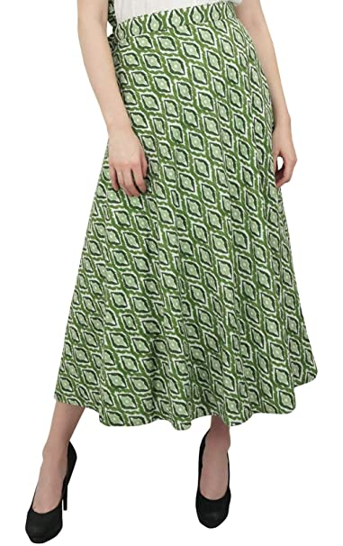 Phagun Use Verano Ikat Impreso Reversible Falda del Abrigo de algodón Vestido de Boho Verde: Amazon.es: Ropa y accesorios