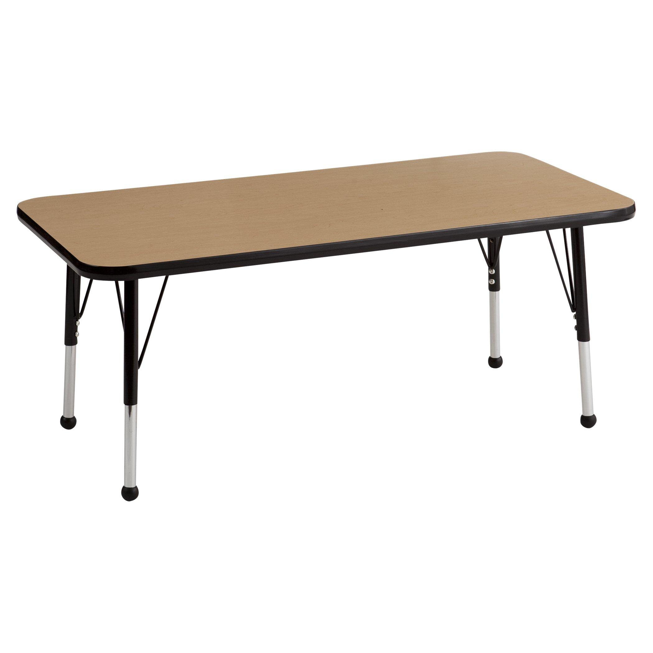 ECR4Kids 24'' x 48'' Rectangular Activity School Table, Standard Legs w/Ball Glides, Adjustable Height 19-30 inch (Oak/Black)