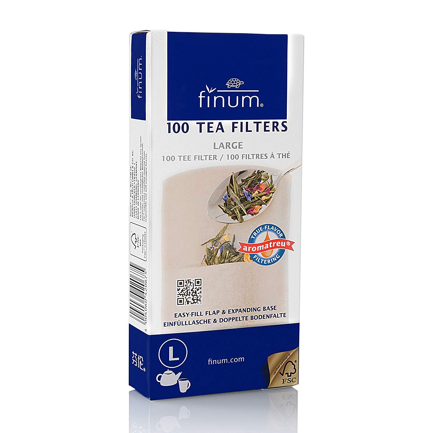 Finum Disposable Paper Tea Filter Bags for Loose Tea, Brown, Large, 100 Count (Pack of 24) by finum (Image #1)