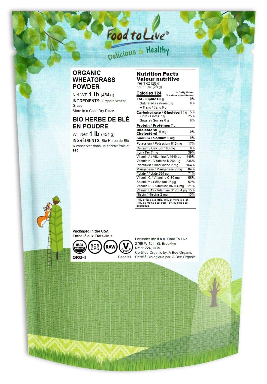 Organic Wheatgrass Powder, 1 Pound Non-GMO, Whole-Leaf, Raw, Non-Irradiated, Pure, Vegan Superfood, Bulk, Great for Juice, Rich in Fiber, Chlorophyll, Fatty Acids and Minerals
