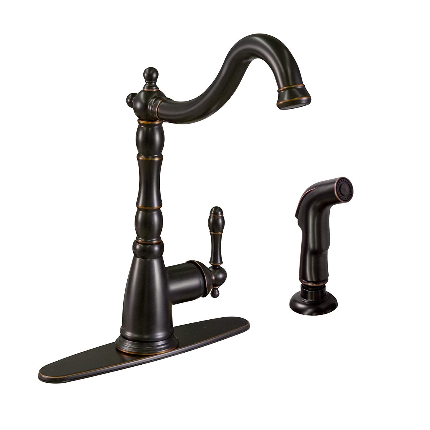 Design House 523217 Oakmont Kitchen Faucet with Sprayer with Single Handle, Oil Rubbed Bronze Finish