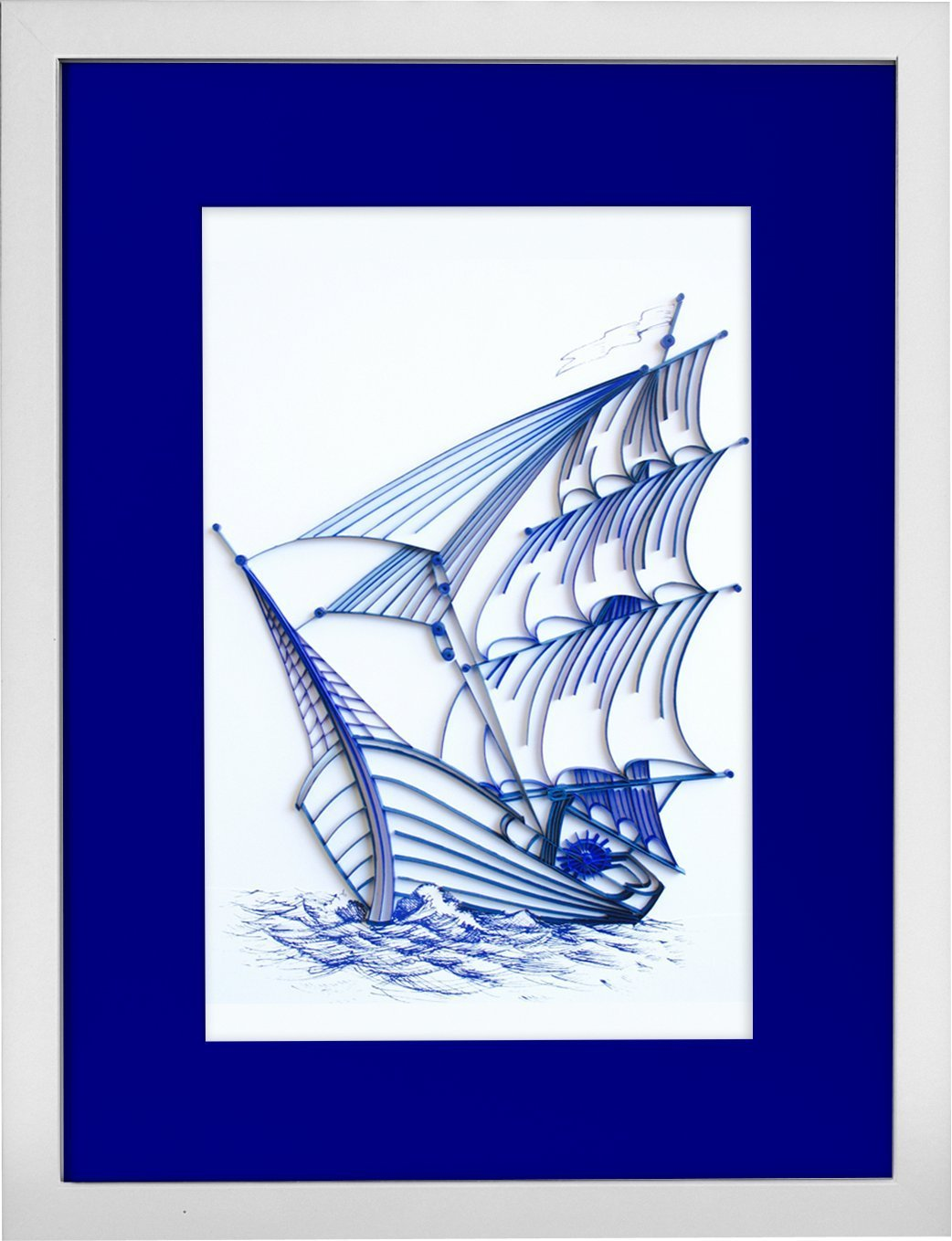 Sailing Ship - Modern Paper Quilled Wall Art for Home Decor (one of a kind paper quilling handcrafted piece made with love by an artist in California)
