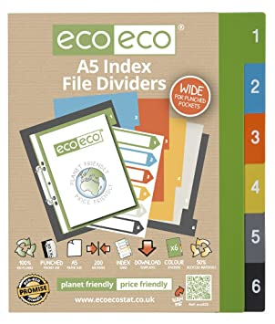 1 Set x 6pk eco-eco A5 50% Recycled Wide Index File Folder Plastic Dividers
