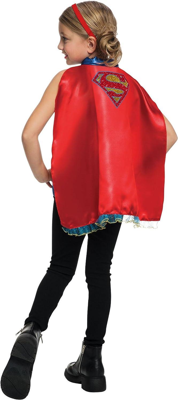 Rubies dise/ño de camiseta y capa adjunta Juego de camiseta oficial de DC Comic Supergirl para mujer talla peque/ña