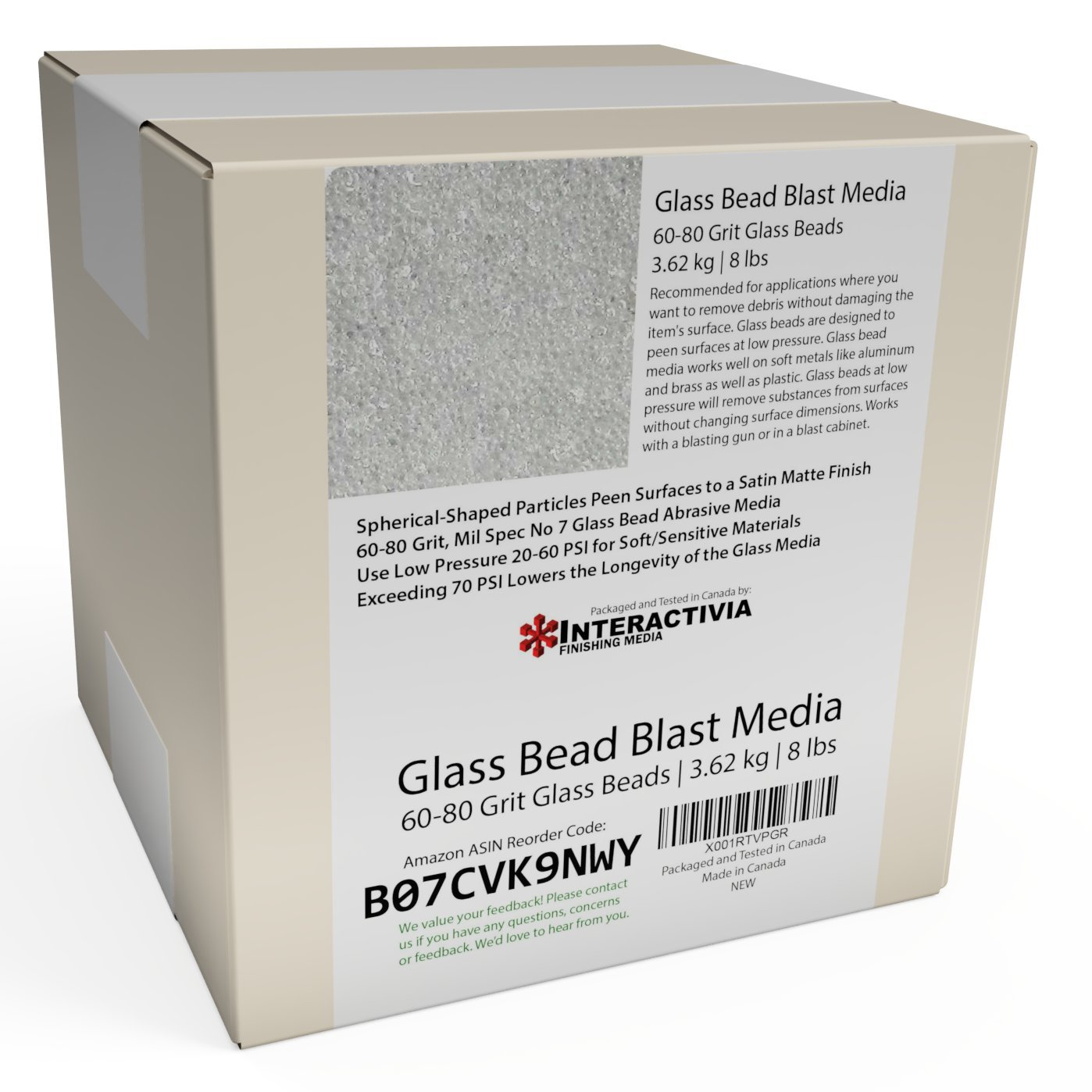 #7 Glass Beads Fine 8 lb or 3.6 kg Spec No 7 for Blast Cabinets Or Sand Blasting Guns 60-80 Mesh or Grit Small Beads for Cleaning and Finishing Blasting Abrasive Media