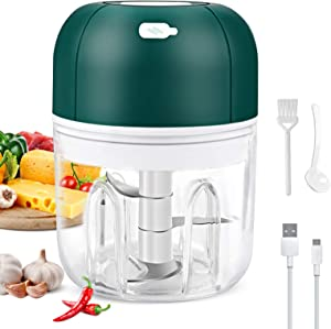 Electric Garlic Chopper, Wireless Portable Food Chopper with USB Charging Port, 250ml Waterproof Food Processor Mincer, Rechargeable Mini Garlic Masher/Grinder for Chili Onion Vegetable Nuts Meat