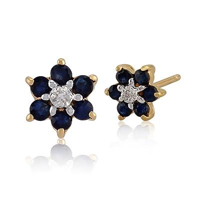 Gemondo Sapphire Cluster Earrings, 9ct Yellow Gold 0.43ct Sapphire & Diamond Floral Stud Earrings