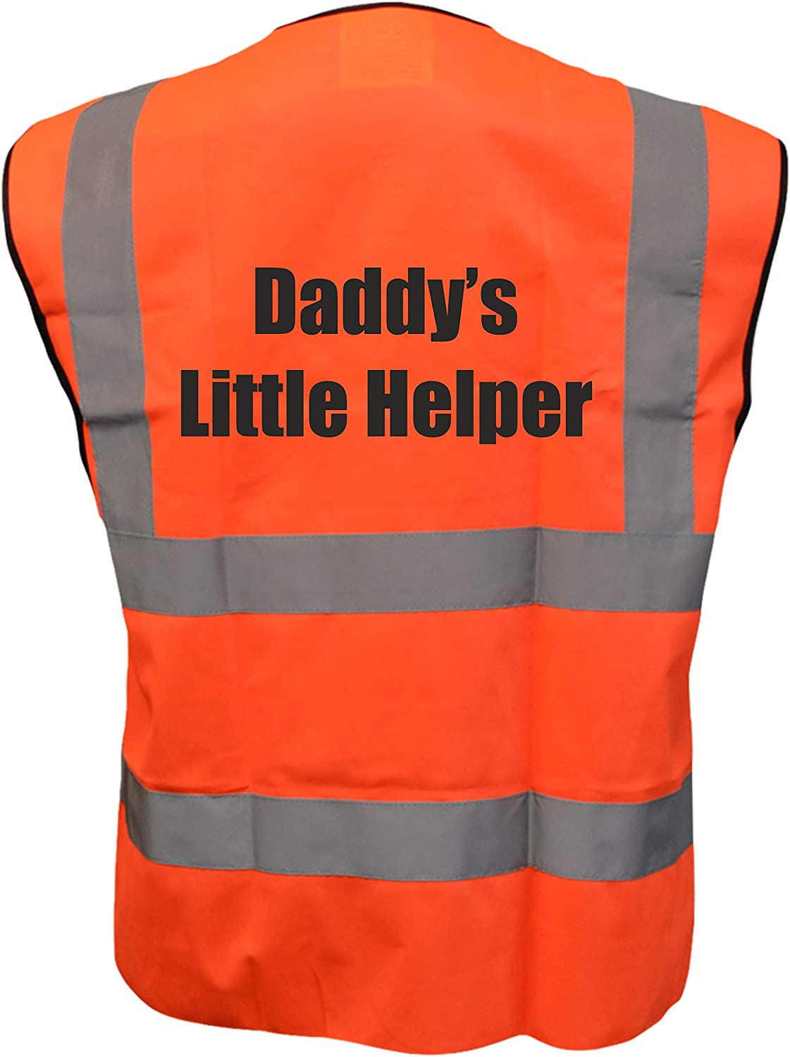 Daddys Little Helper Kids Yellow Orange Pink Hi Vis Viz Vest Waistcoat Childrens High Visibility Reflective Fancy Dress