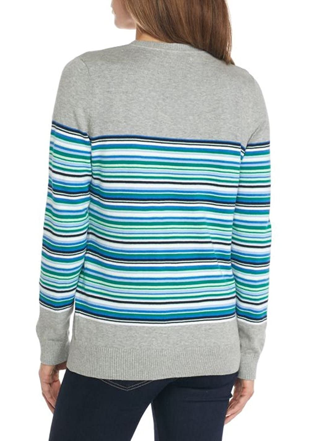 49efb112c Kim Rogers Women s Cable V-Neck Striped Sweater at Amazon Women s ...