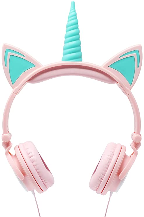 e21fc6e623f Amazon.com: Gabba Goods Premium LED Light Up in The Dark Unicorn Over The  Ear Comfort Padded Stereo Headphones with AUX Cable | Earphone Gift- Pink:  Home ...