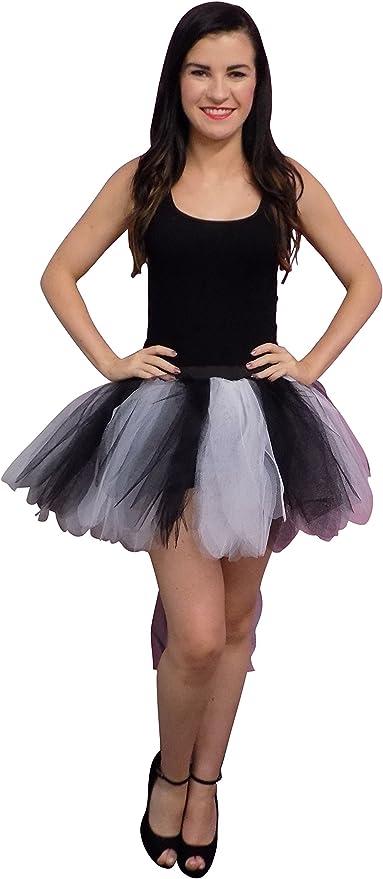 Black Neon White 8 Layer Tutu Skirt with Bustle Halloween 80S ...
