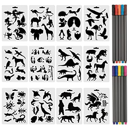 Amazon cocode set of 12 animal stencils with 10 colored cocode set of 12 animal stencils with 10 colored fineliner pens plastic drawing painting templates maxwellsz