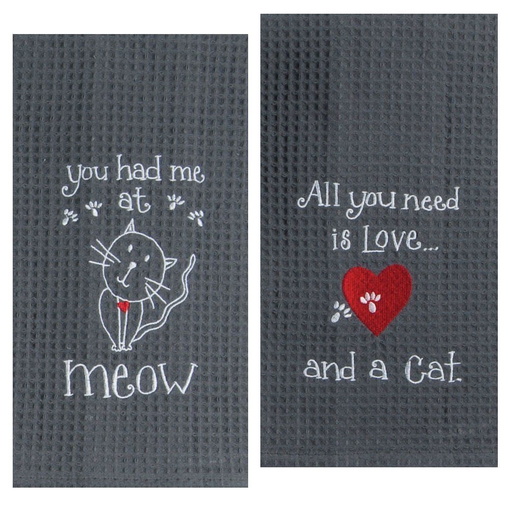 Kay Dee Designs Cat Lover Embroidered Towel Set - One Each You Had Me at Meow & Cat Love