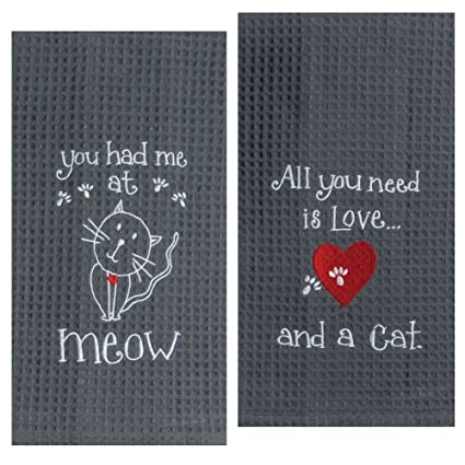 Kay Dee Designs Cat Lover Embroidered Towel Set   One Each You Had Me At  Meow