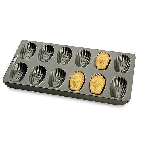 """KitchenCraft Chicago Metallic Professional Non-Stick 12-Hole Madeleine Tin, 40 x 19 cm (15.5"""" x 7.5"""")"""