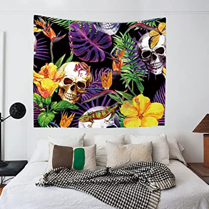 Modern Tapestry Wall Hanging ArtTropical Plants And SkullsWall Decor Hippie Tapestries Bohemian