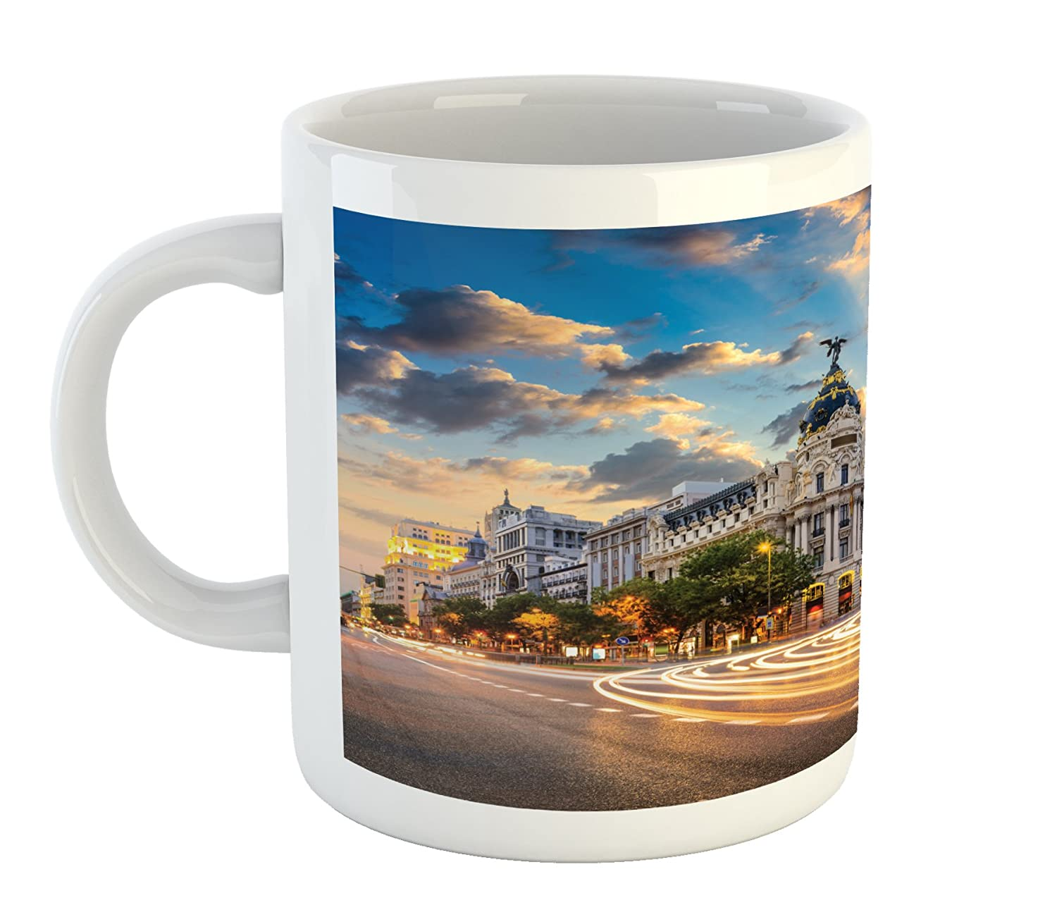 Printed Ceramic Coffee Mug Water Tea Drinks Cup View of The Streets Modern Madrid with Sky Landscape Big Old Ancient Town Heritage Lunarable European Mug Multicolor