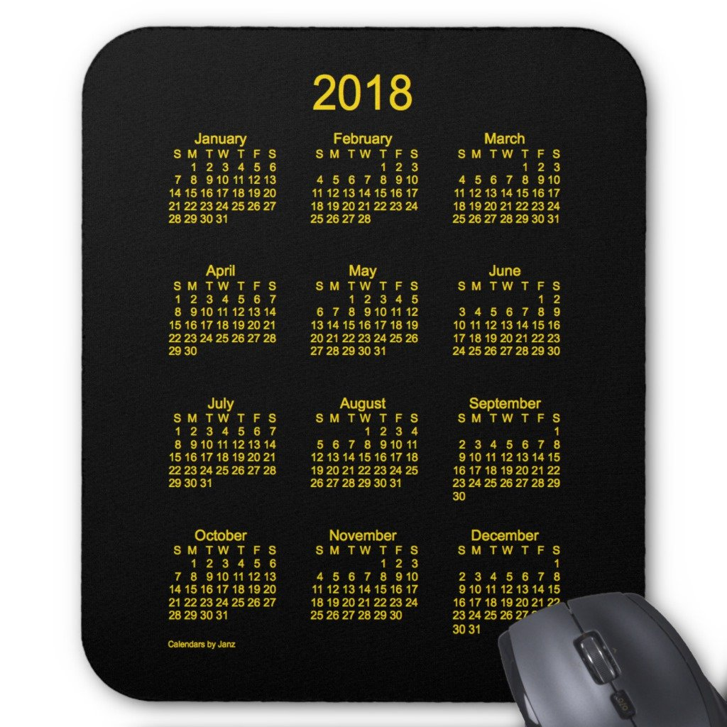 Zazzle 2018 Neon Gold Calendar By Janz Mouse Pad