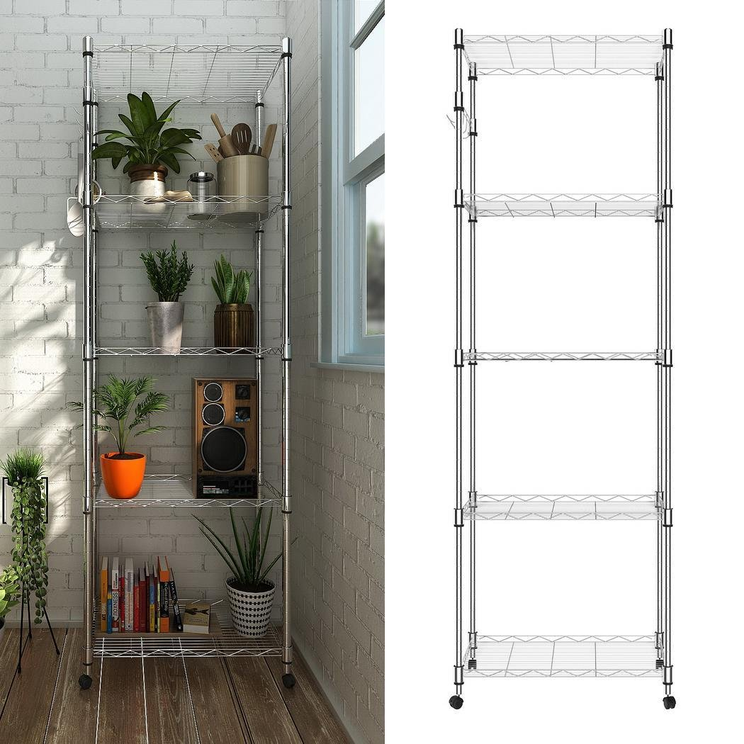"""dtemple 5-Shelf Shelving Rack With Wheels, Heavy Duty- 6000LBS Total Capacity,Wire Storage Rack Organizer(23.2""""L x 13.8""""Wx 72""""H)"""