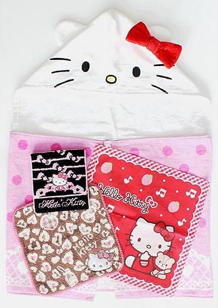 Hello Kitty juego de toallas (toalla con capucha, manoplas y # x3001; pañuelo