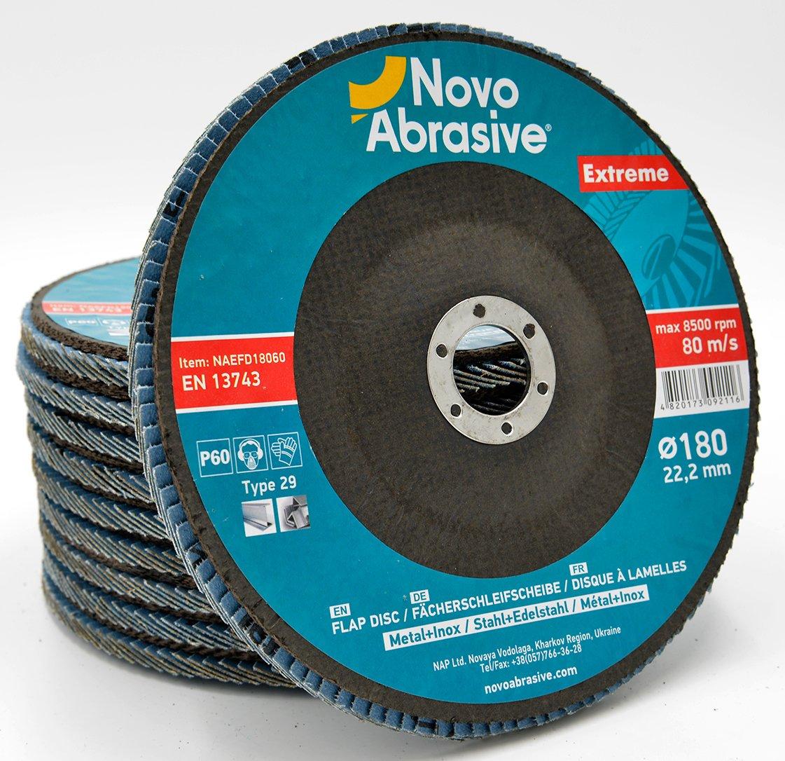 NOVOABRASIVE Disques abrasifs /à lamelles 115mm Grain 120 pon/çage al/ésage MOP Lot de 10 pi/èces pour meulage