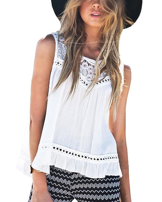 ZANZEA Blusa Camiseta Casual Elegante Oficina Verano Playa Algodón Croché sin Mangas para Mujer Blanco EU