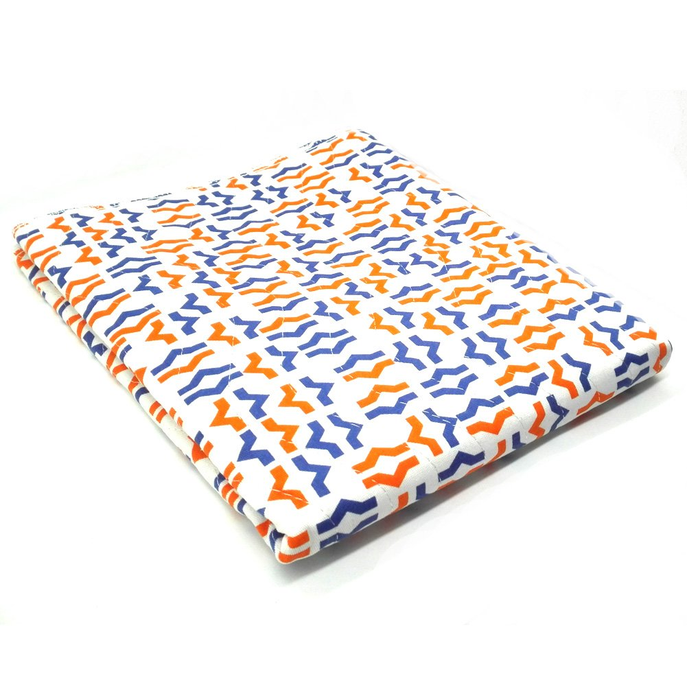 Adult Reusable Bed Pad Waterproof Non-slip Washable Patient Incontinence, Orange Blue Printing, 24''x35'', IFANLEE