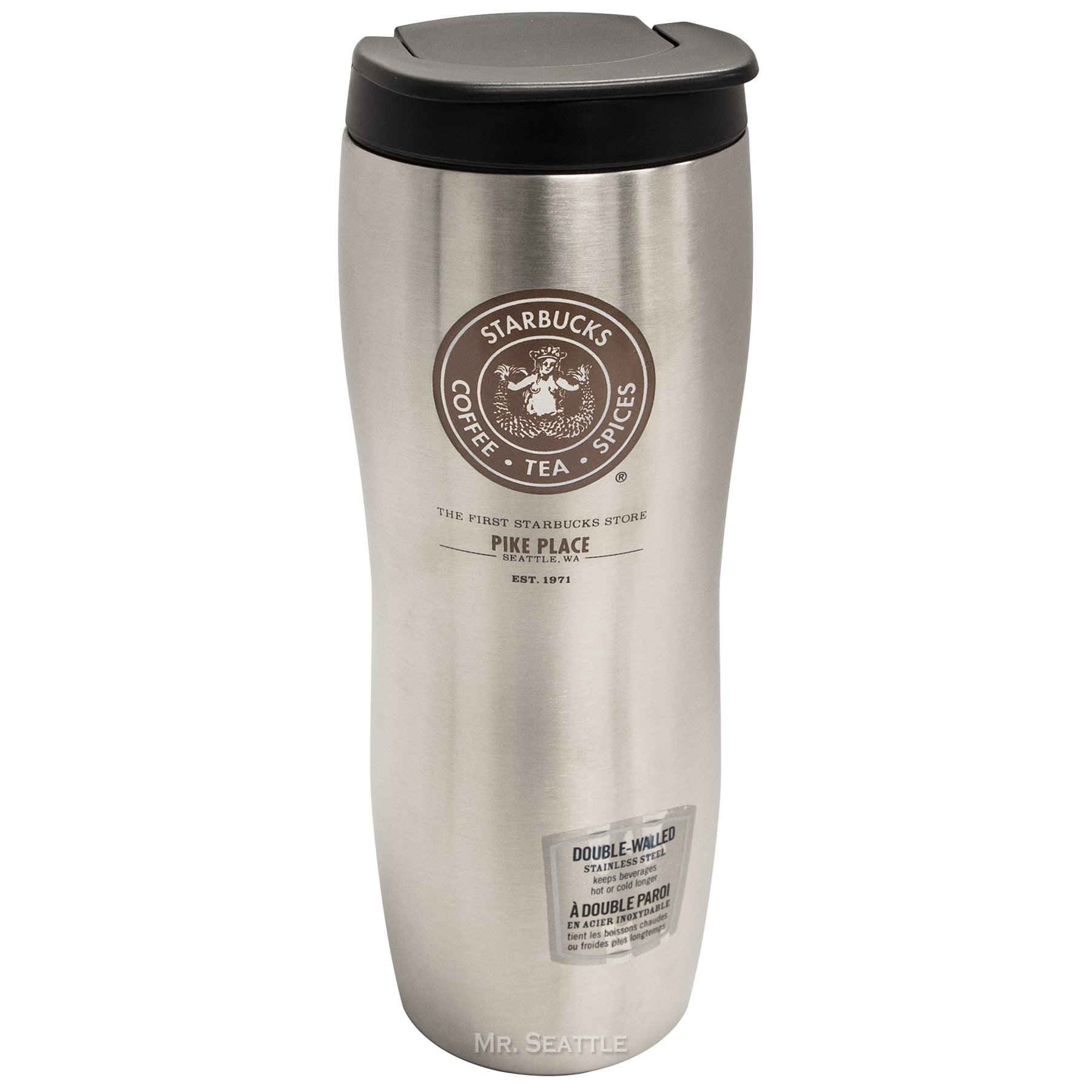 Starbucks Pike Place Concord Double-Walled Stainless Tumbler,Silver,16oz by Starbucks