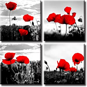 "Red Poppy Wall Decor for Living Room Black and White Abstract Plant Poppies Flowers Natural Scape Painting Canvas Picture Bedroom Artwork Decorations 12""X12""X4 Stretched and Framed Ready to Hang"