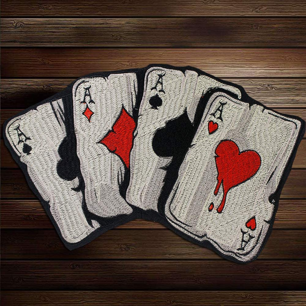 Large A Playing Cards Patch Motorcycle Embroidery Patches Iron on Patches Heavy Metal Biker Rider for Vest Jackets 2piece
