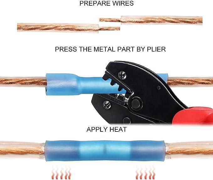 Connettore terminale a crimpare elettrico 20x isolato termorestringente Nuo/&TM