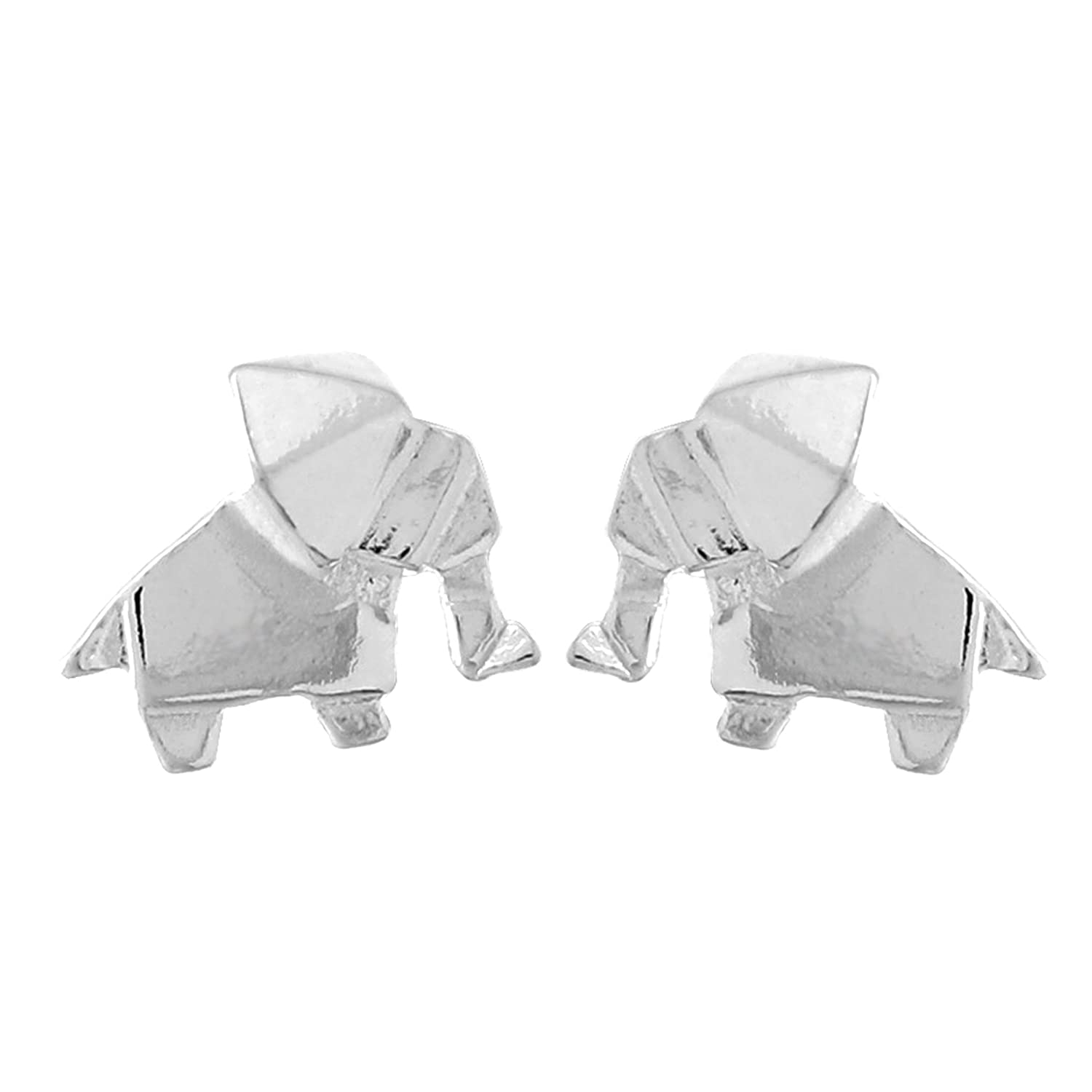 Boma Sterling Silver Origami Elephant Stud Earrings
