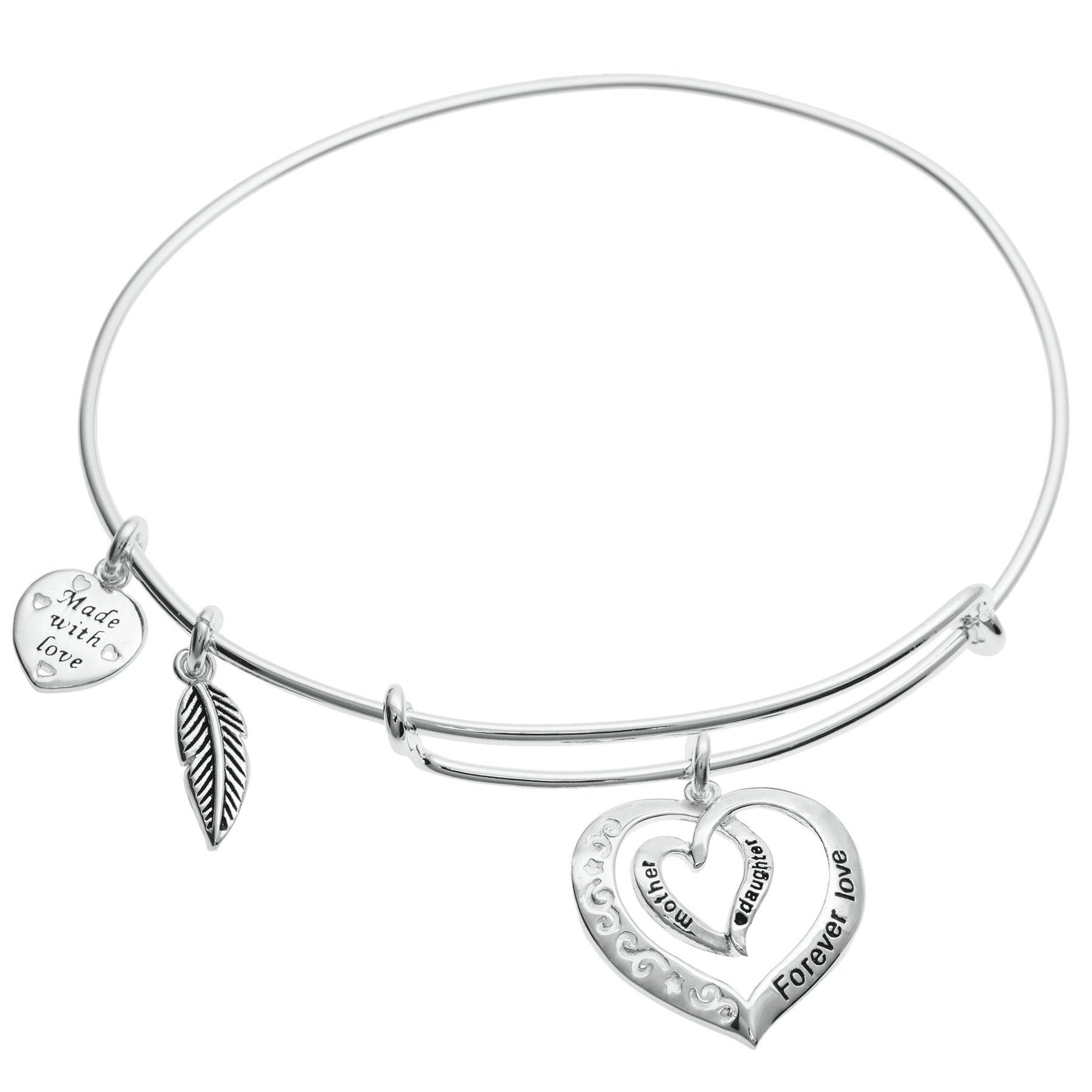 Qina C Sterling Silver Mother Daughter Forever Love Heart Leaf Dangle Charm Adjustable Wire Bangle Bracelet