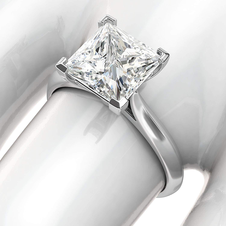 14k White Gold Square 8mm Simulated Princess Cut Diamond Engagement Ring Knife Edge Promise Bridal Ring (8.5) by THELANDA (Image #5)