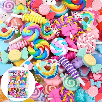 lollipop de resina Slime Beads Making suministros para bricolaje Scrapbooking Crafts Ni/ños de pelo joyas accesorios Juego de dulces mixtos varios colores y formas para ni/ños