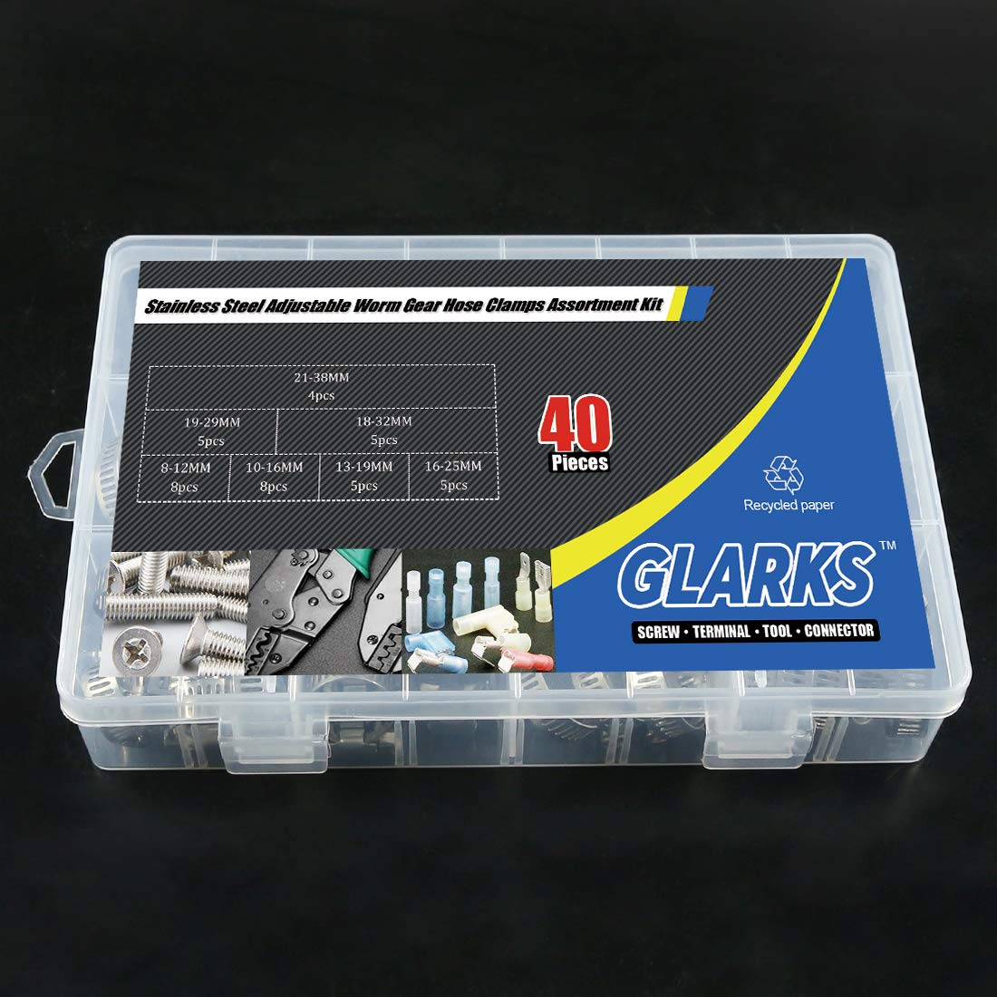 Hose Clamp Set, Glarks 40-Pieces 304 Stainless Steel ... on