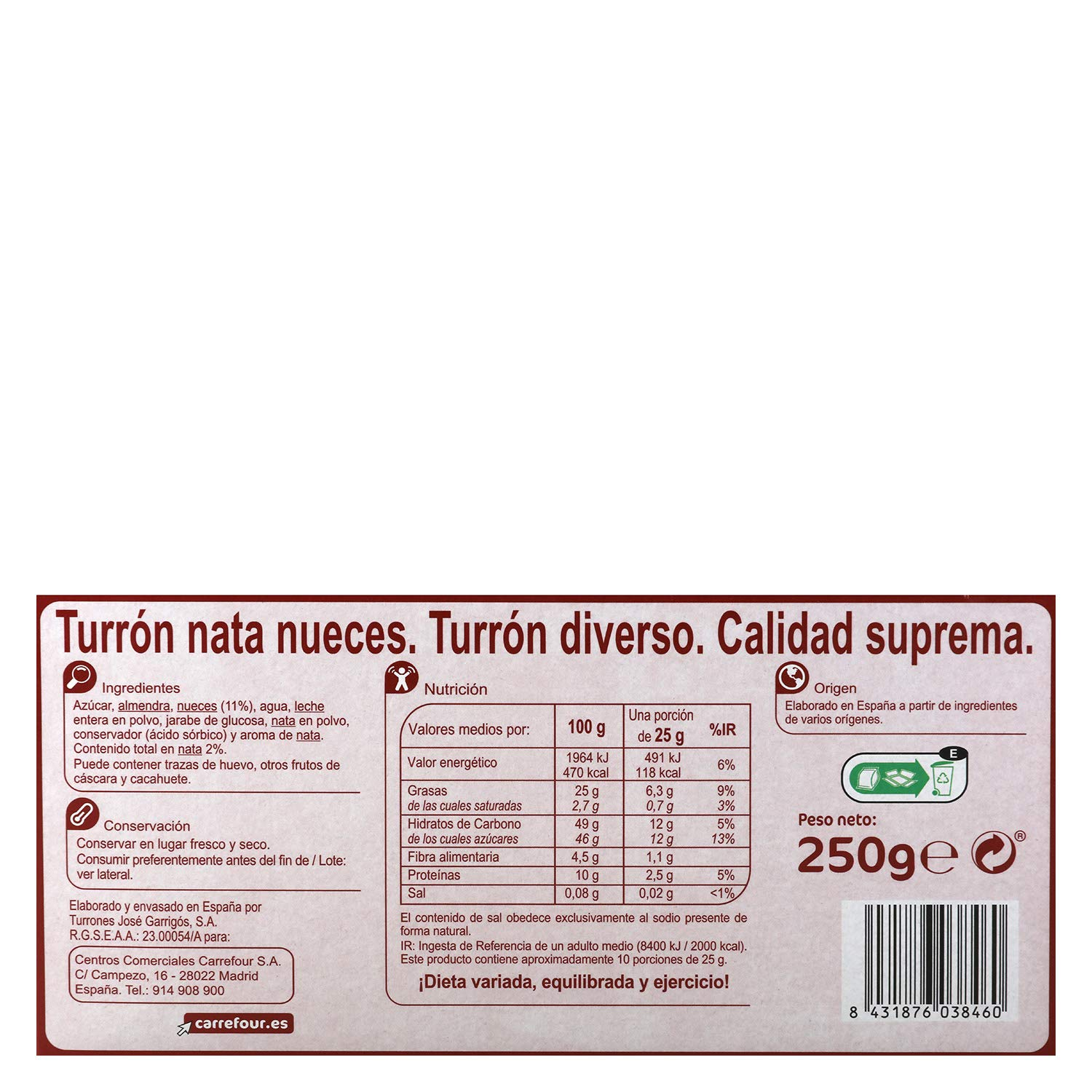 Carrefour Nuts & Cream Spanish Nougat - 4 Pack - Made in Spain - Candy & Chococolate - Traditional & International Sweets - Gluten-Free - Turron: ...