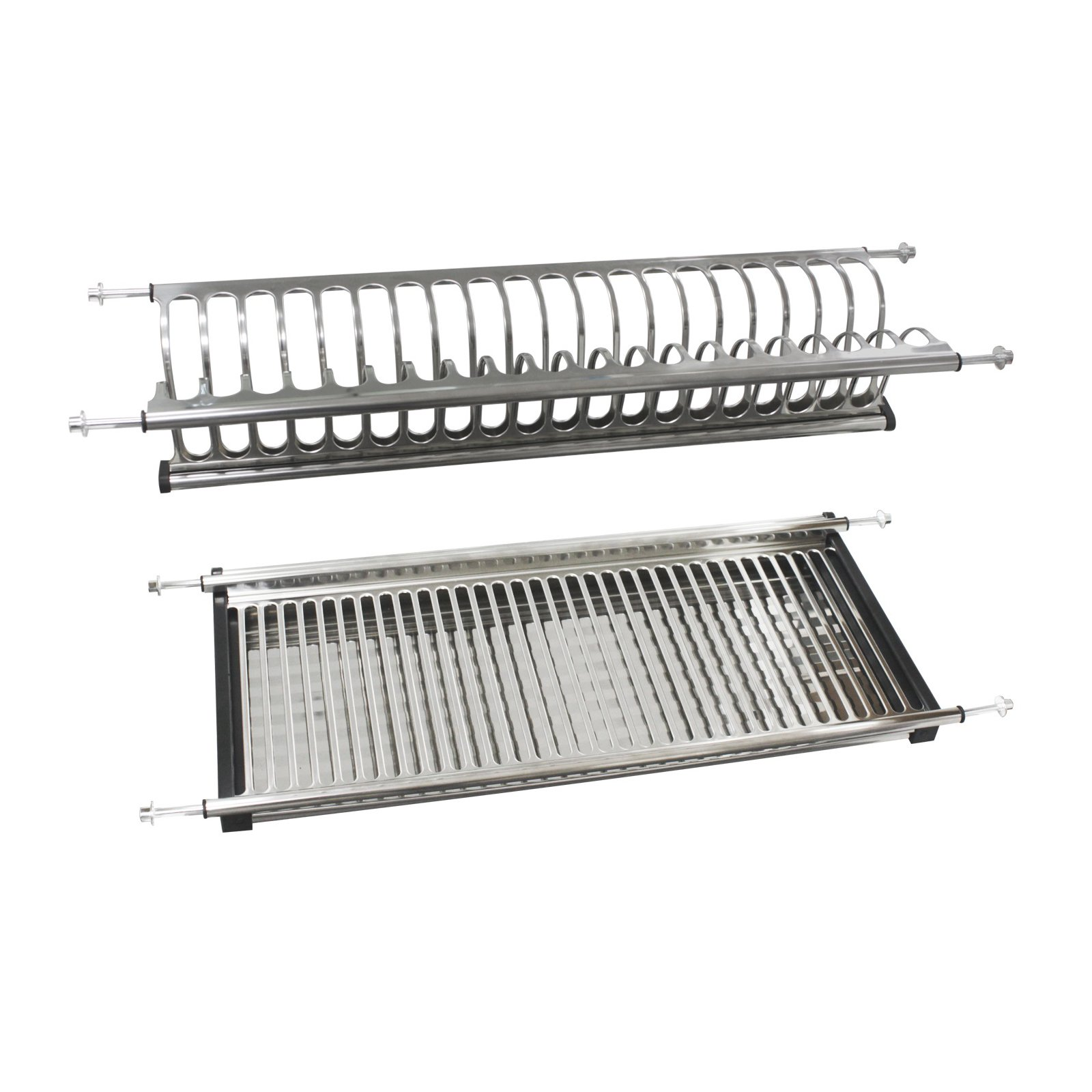 31.5'' Modern 2-Tier Kitchen Folding Dish Drying Dryer Rack For Cabinet Stainless Steel Drainer Plate Bowl Storage Organizer Holder