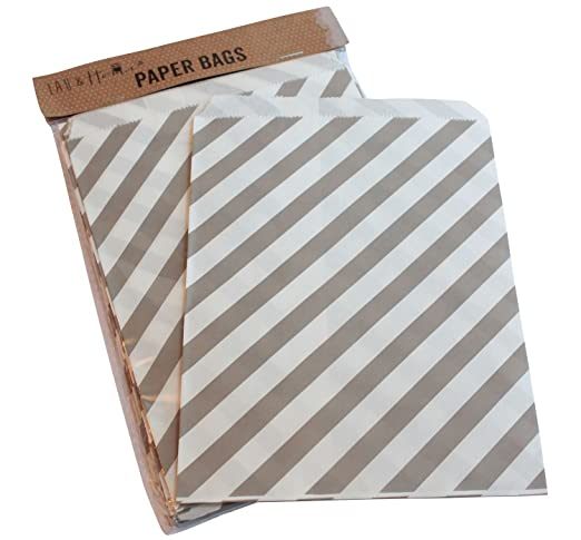 6 opinioni per Sacchetto di carta a righe party 25 / caramelle dolci regalo, 13x18cm- Grigio