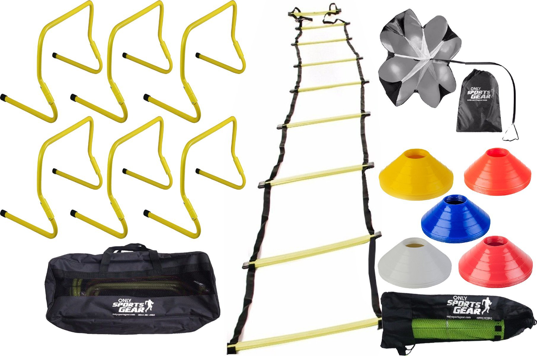 Sports Agility Training Adjustable Agility-hurdles-ladder-chute-cones Combo Set by Sportsgear US