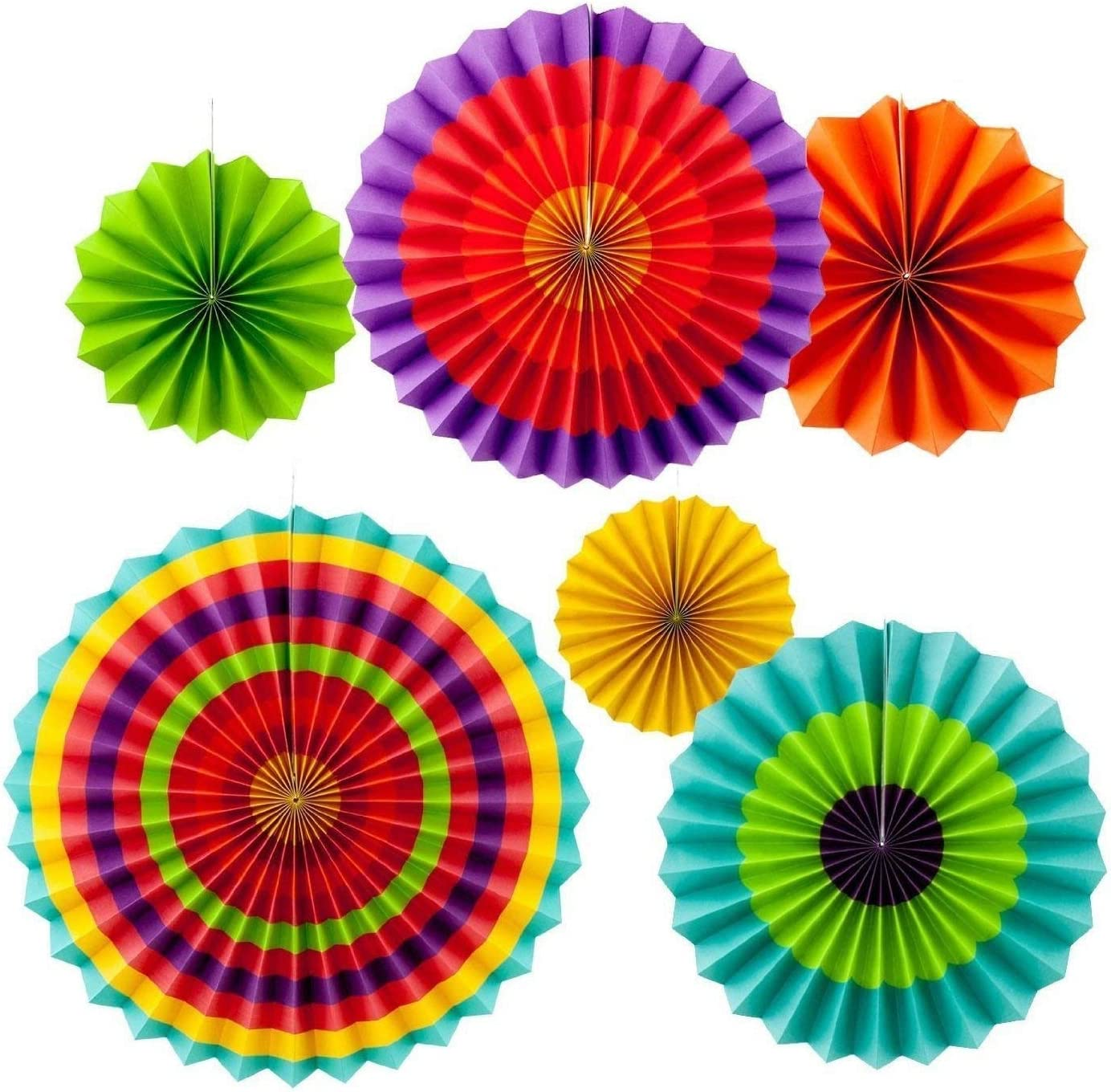 Happium Set di 6 ventagli di carta da appendere per feste Multi