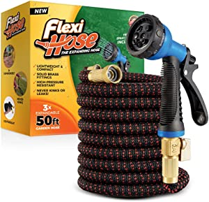 Flexi Hose with 8 Function Nozzle, 50 ft. Lightweight Expandable Garden Hose, No-Kink Flexibility, 3/4 Inch Solid Brass Fittings and Double Latex Core, Black/Red
