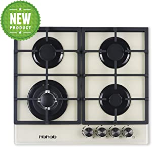 """Gas Cooktop 24"""" inches Gas Stove Tempered Glass Built in 4 Burners Gas Stoves Cooktop Stove Burner Cast Iron Grate Stove-Top LPG/NG Dual Fuel Thermocouple Protection and Easy to Clean-Creamy White"""